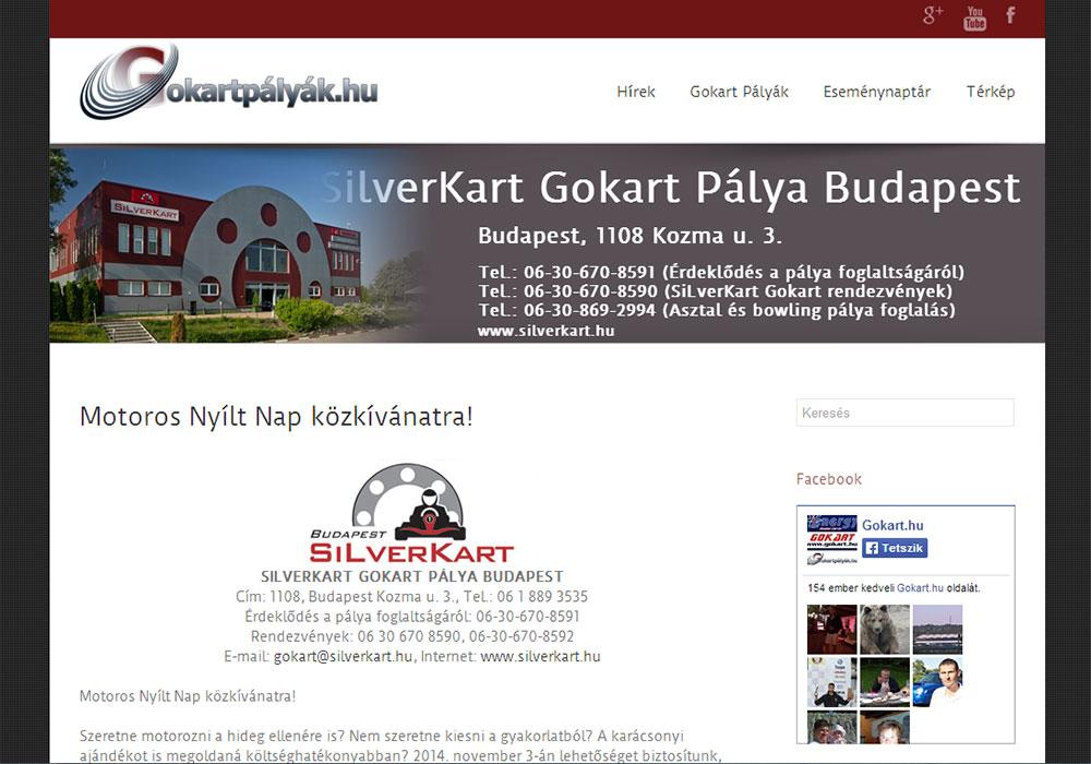 Weboldal készítés- gokartpalyak.hu